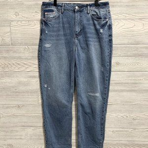 River Island Distressed High Rise Cropped Mom Jean